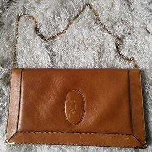 Auth Cartier clutche bag leather